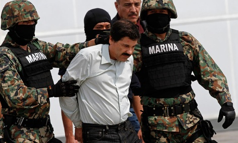 "Joaquin ""El Chapo"" Guzman, seen here being escorted to a helicopter in Mexico City,  was apprehended in Mazatlán, Sinaloa Saturday."