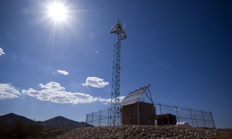 A prototype of a tower for a virtual fence along the U.S.-Mexico border at a test facility in Playas, N.M.