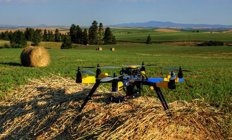 A multi-rotor hexacopter, an unmanned aircraft that was purchased to monitor a farm in Kendrick, Idaho