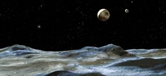 An artist's rendering of the moon system of Pluto