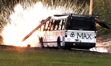 "A simulated radioactive ""dirty bomb"" explodes on a bus which was used to test the ability of federal and local agencies to deal with a real terrorist attack."