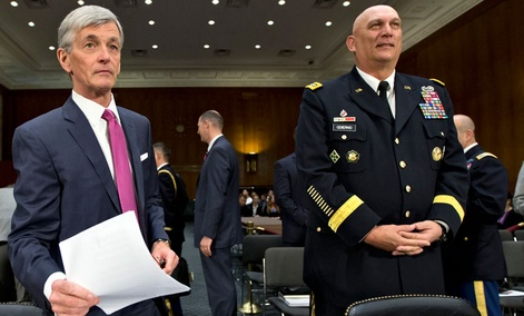 Army Secretary John McHugh, left, and Army Chief of Staff Gen. Ray Odierno testified on Capitol Hill last year.