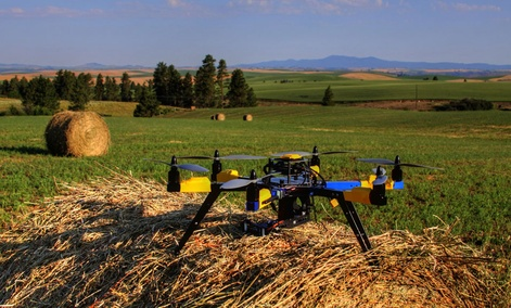 An unmanned aircraft used to monitor a farm in Kendrick, Idaho.
