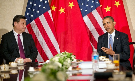 US President Barack Obama during a meeting with Chinese President Xi Jinping