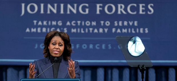 First lady Michelle Obama speaks at a National Symposium on Veterans' Employment in Construction, hosted by the Labor Department, Monday, Feb. 10, 2014.