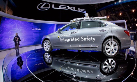 A Lexus SL 600 Integrated Safety driverless research vehicle is seen on display at the 2013 Consumer Electronics Show.