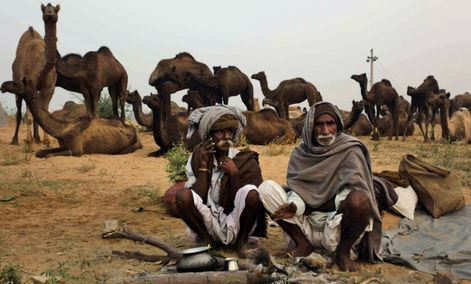 An Indian camel herder, left, speaks on his phone at the annual cattle fair in Pushkar, India.