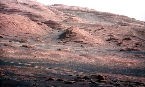 An image of the Martian landscape from NASA's Curiosity rover