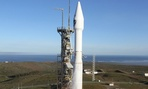 The Atlas V rocket carrying the Defense Meteorological Satellite Program-19 spacecraft Thursday April 3, 2014.