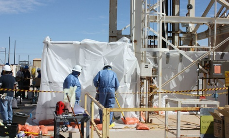 Specially-trained workers make unmanned tests inside a nuclear waste dump at DOE's Waste Isolation Pilot Plant in Carlsbad, N.M.