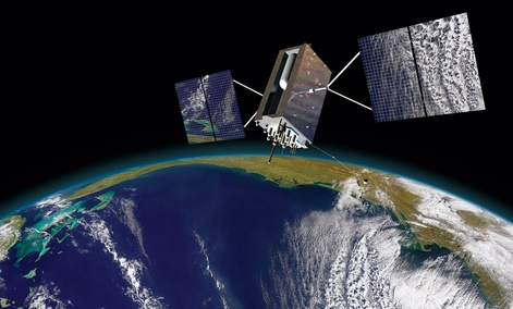 An artist drawing provided by Lockheed Martin shows a Block III GPS satellite orbiting the Earth.