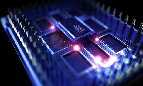 A 3D rendered simulation of a quantum processor computer.