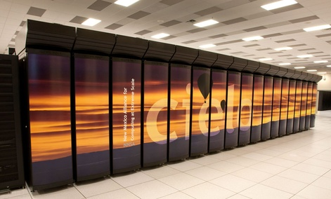 The Cray Cielo supercomputer installed at Los Alamos, which runs at a speed of 1.37 petaflops.