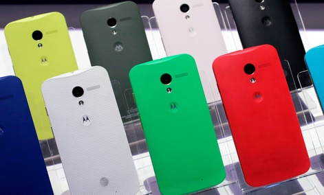Motorola Moto X smartphones, using Google's Android software, are shown.