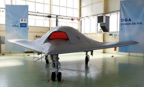 The pan-European stealth combat drone demonstrator Neuron is seen at the Istres air base unit, near Marseille, southern France.
