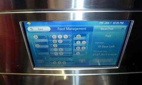 "The console of the LG's Smart Refrigerator has menus for ""food management."""