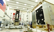 A GOES-R Spacecraft System and Propulsion Modules in Lockheed Martin Cleanroom