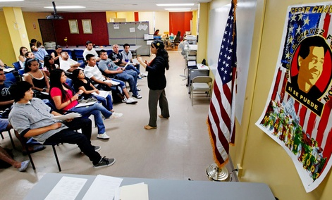 An orientation seminar for illegal immigrants, to determine if they qualify for temporary work permits, at the Coalition for Humane Immigrant Rights of Los Angeles.