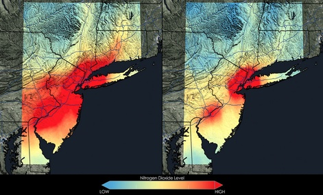 Satellite data show that New York City has seen a 32 percent decrease in nitrogen dioxide between 2005 and 2011.