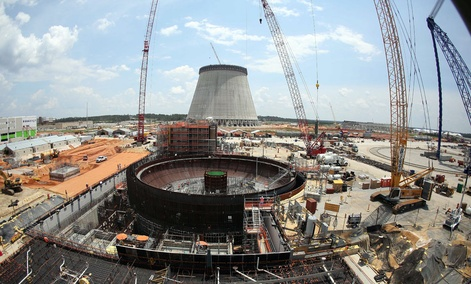 Construction continues on a new nuclear reactor at Plant Vogtle power plant in Waynesboro, Ga.