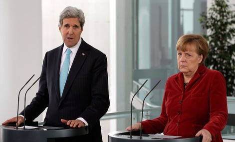 Secretary of State John Kerry, left, and German Chancellor Angela Merkel