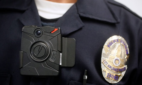 Los Angeles Police officer wearing an on-body camera.