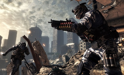 "A scene from the video game, ""Call of Duty: Ghosts."" The game is a first-person shooter and features interactive maps."
