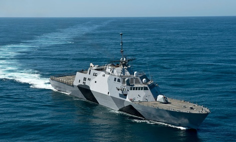 The littoral combat ship USS Freedom is conducting sea trials in the Pacific Ocean off the coast of Southern California.