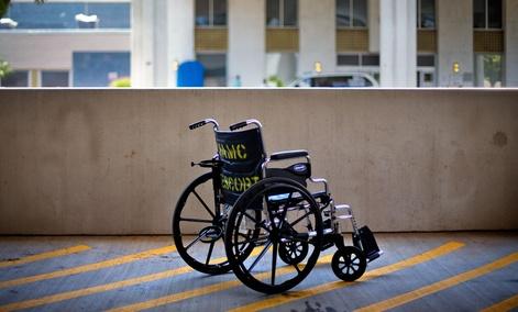 A wheelchair sits outside the Atlanta VA Medical Center.