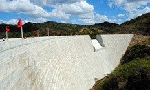 A view of the recently completed Portugues Dam.  The dam, located near Ponce, Puerto Rico, is designed to reduce the impacts of flooding along the Portugues River.