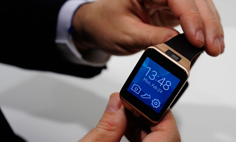 The Samsung Gear 2 smartwatch is displayed at the Mobile World Congress in Spain.