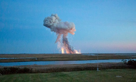 The Orbital Sciences Corporation Antares rocket, with the Cygnus spacecraft onboard, as it suffers a catastrophic anomaly moments after launch.