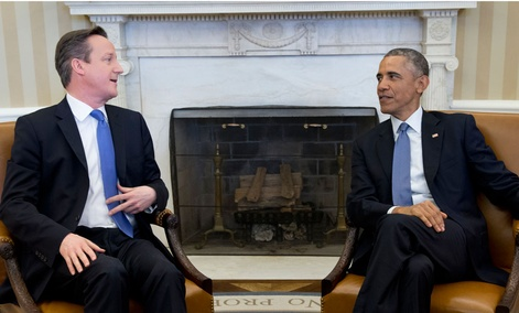 President Barack Obama meets with British Prime Minister David Cameron, Friday, Jan. 16, 2015.