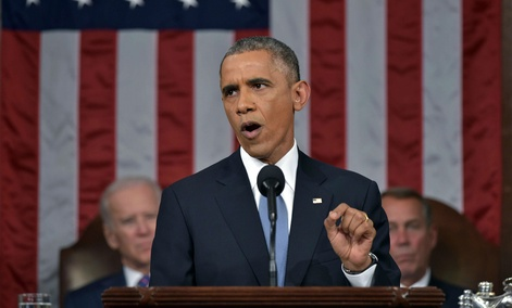 President Barack Obama delivers his State of the Union address to a joint session of Congress on Capitol Hill on Tuesday, Jan. 20, 2015, in Washington