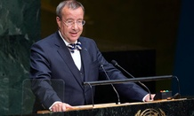 Estonia's President Toomas Hendrik Ilves addresses the 69th session of the United Nations General Assembly.