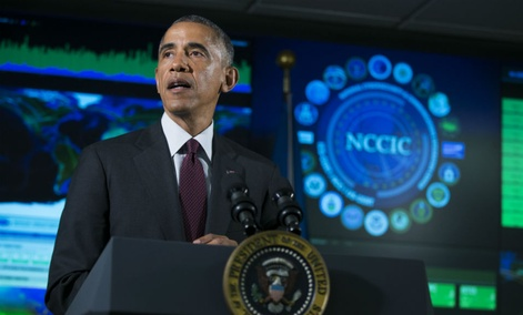 President Barack Obama speaks at the National Cybersecurity and Communications Integration Center in Arlington, Va.,Tuesday, Jan. 13, 2015.