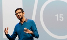 Sundar Pichai, senior vice president of Android, Chrome and Apps, speaks during the Google I/O 2015 keynote presentation in San Francisco.