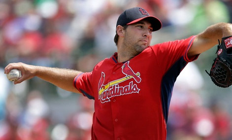 St. Louis Cardinals starting pitcher Michael Wacha throws during the fourth inning of a spring exhibition baseball game against the Houston Astros in Kissimmee, Fla.