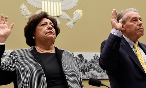 Office of Personnel Management (OPM) Director Katherine Archuleta, left, and OPM Inspector General Patrick E. McFarland
