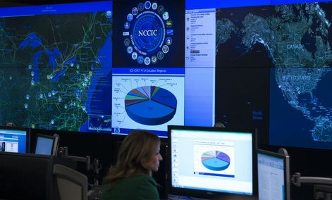 A view of the National Cybersecurity and Communications Integration Center in Arlington, Va., Tuesday, Jan. 13, 2015, before President Barack Obama spoke. Obama renewed his call for Congress to pass cybersecurity legislation.