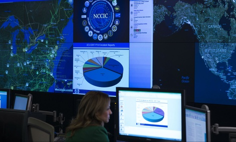 A view of the National Cybersecurity and Communications Integration Center before remarks by President Barack Obama, on Tuesday, Jan. 13, 2015, in Arlington, Va. Obama renewed his call for Congress to pass cybersecurity legislation, including a proposal t