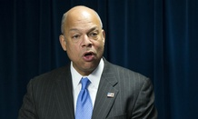 Homeland Security Secretary Jeh Johnson speaks in Washington, Monday, March 16, 2015, during a ceremony to sign a preclearance agreement as part of the Beyond the Border Initiative. (AP Photo/ Evan Vucci)