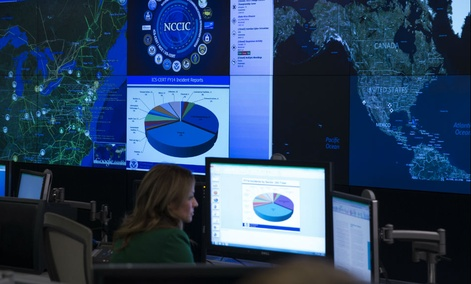 A view of the National Cybersecurity and Communications Integration Center before remarks by President Barack Obama, on Tuesday, Jan. 13, 2015, in Arlington, Virginia.