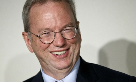 "Google Executive Chairman Eric Schmidt smiles during a meeting about the ""right to be forgotten"" in Madrid."