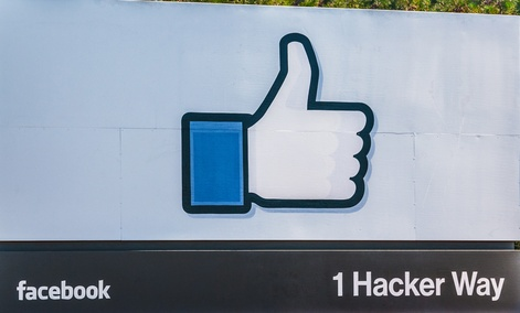 Facebook's entrance sign at the corporate office in California