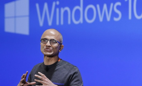 Microsoft CEO Satya Nadella speaks at an event demonstrating the new features of Windows 10.