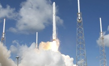 The SpaceX Falcon 9 rocket and Dragon spacecraft lifts off from Space Launch Complex 40 at the Cape Canaveral Air Force Station.
