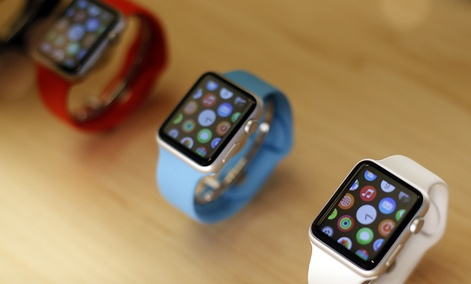 Apple Watches are displayed at an Apple store in Chicago.