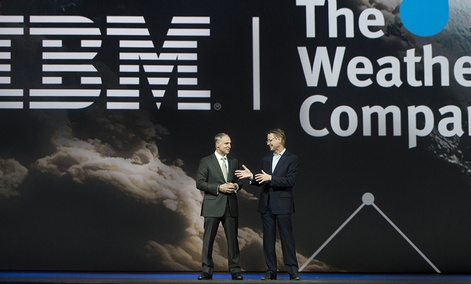 IBM Senior Vice President Bob Picciano (left) joins The Weather Company Chairman and CEO David Kenny.