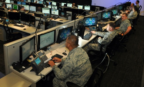 Personnel of the 624th Operations Center, located at Joint Base San Antonio - Lackland, conduct cyber operations in support of the command and control of Air Force network operations and the joint requirements of Air Forces Cyber, the Air Force component
